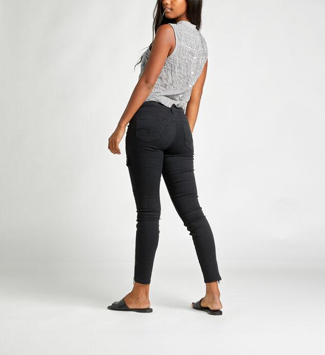 Skinny Cargo Mid Rise Skinny Leg Pants, Black, hi-res