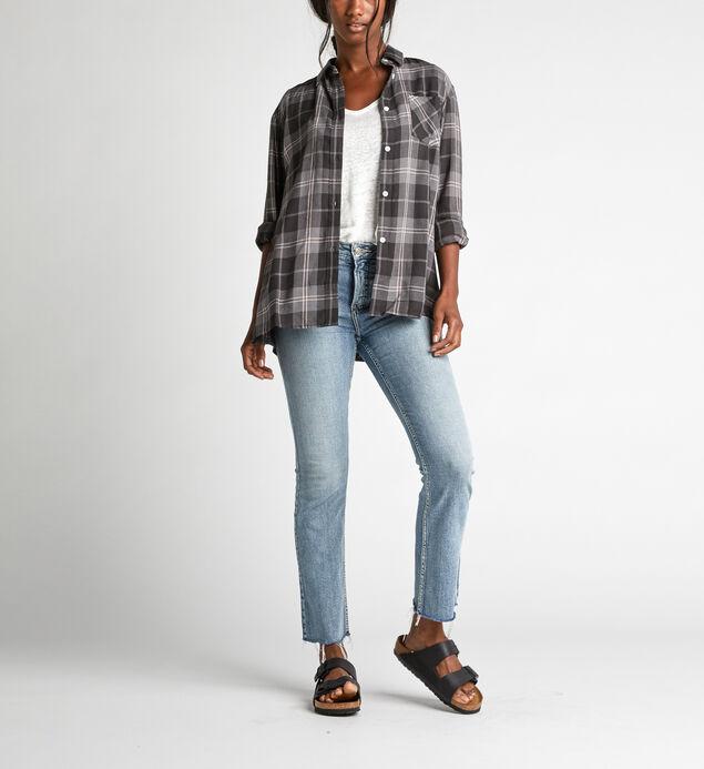 Sammy Plaid Button-Down Shirt, Dark Gray, hi-res