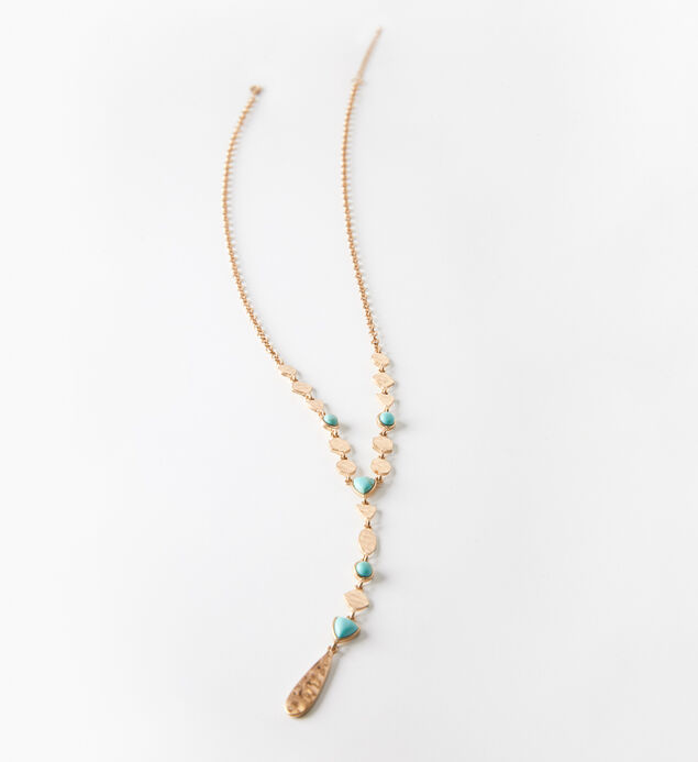 Gold-Tone Turquoise Y Necklace