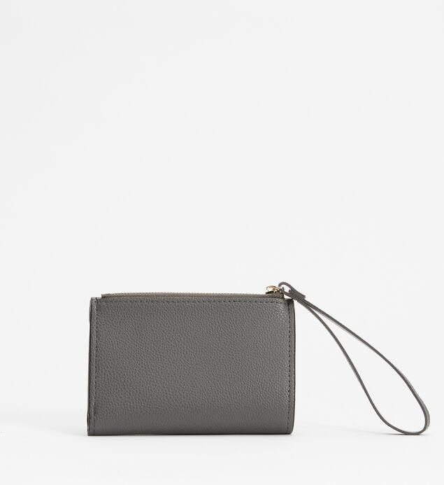 Small Flap Wristlet Wallet, Grey, hi-res