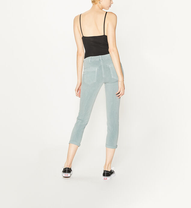 Utility Slim Crop Mid Rise Color Wash, Sage, hi-res