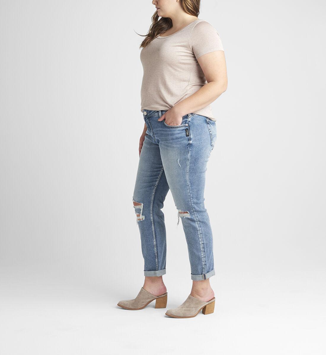 Boyfriend Mid Rise Slim Leg Jeans Plus Size Back