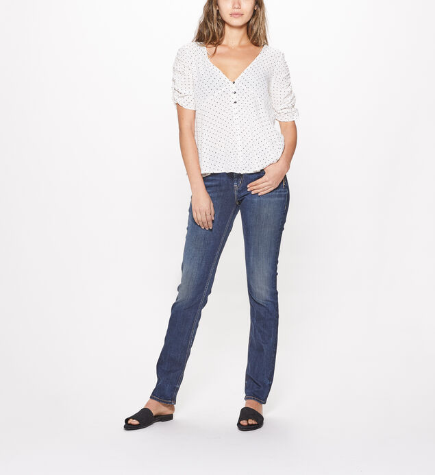 Elyse Straight Mid Rise Dark Wash, , hi-res
