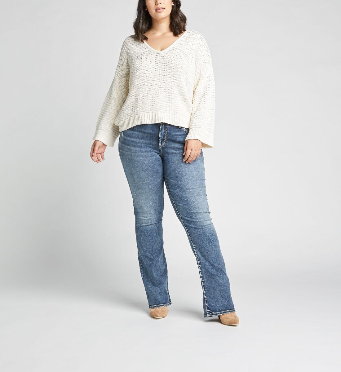Elyse Mid Rise Slim Bootcut Plus Size Jeans Front