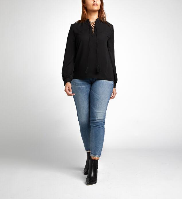 Eloise Lace-Up Blouse, Black, hi-res