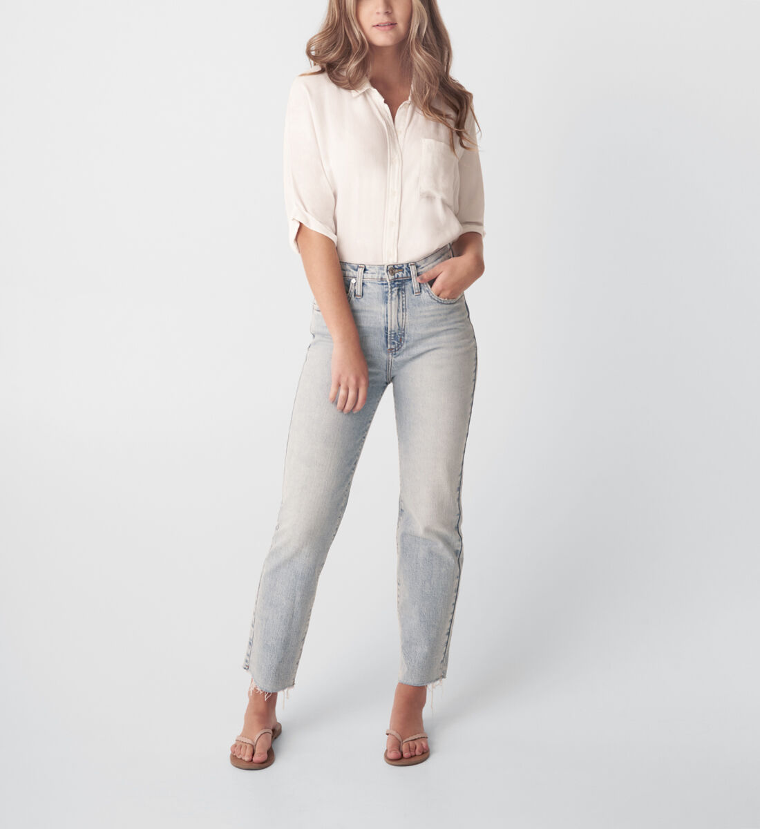 Highly Desirable High Rise Straight Leg Jeans Front