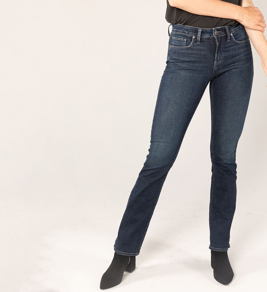 Suki Mid Rise Slim Bootcut Jeans Front