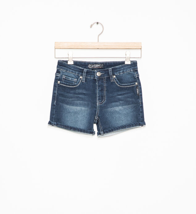 Lacy Dark-Wash Denim Shorts (7-16)