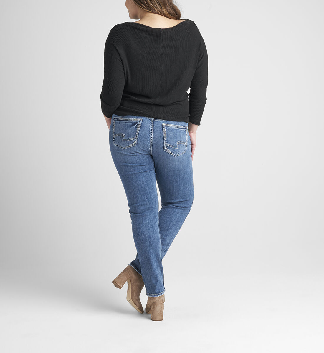 Elyse Mid Rise Straight Leg Jeans Plus Size Back