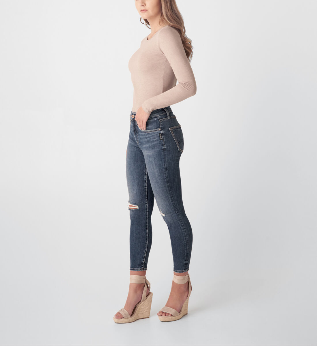 Avery High Rise Skinny Crop Jeans Side