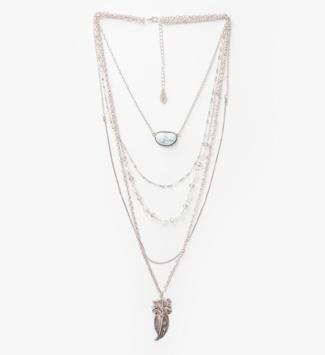 Silver-Tone Layered Feather Necklace