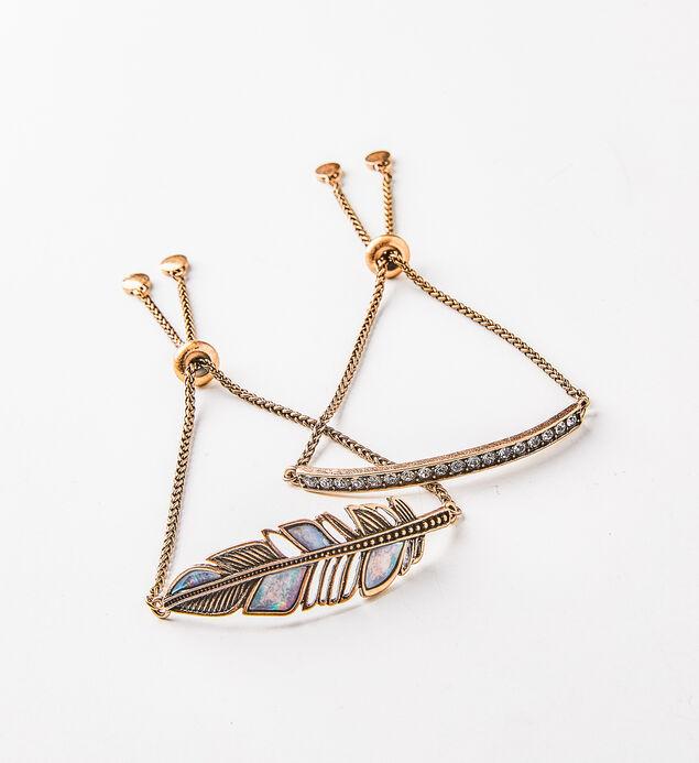 Gold-Tone Feather Bracelet Set