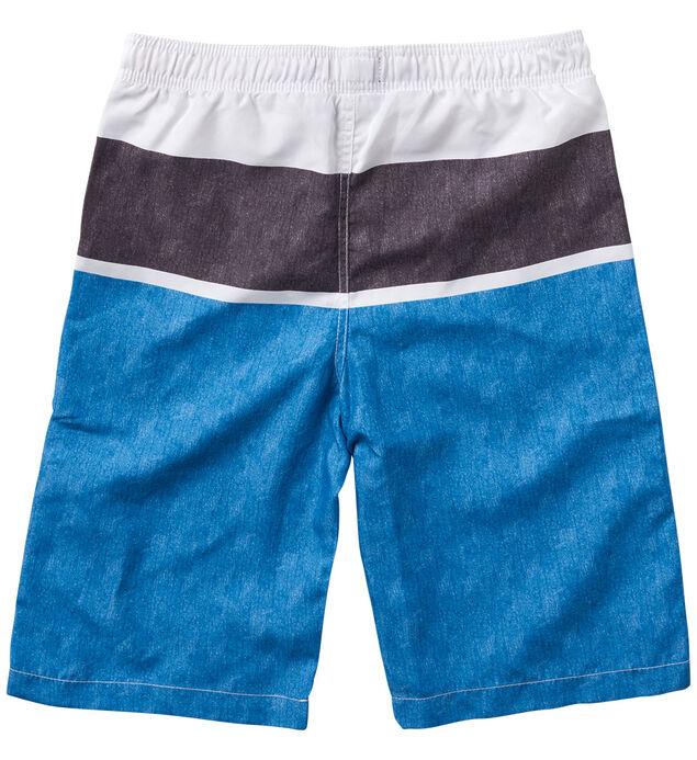 Blue Striped Swim Trunks (4-7), , hi-res