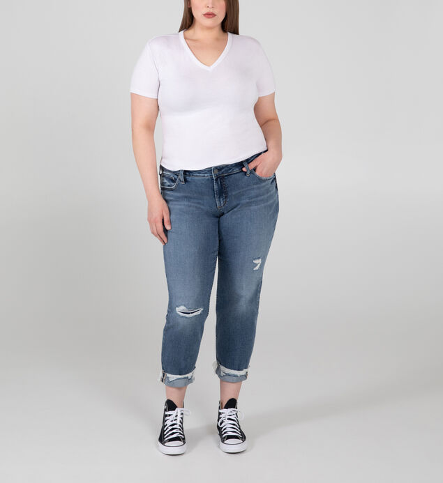 Boyfriend Mid Rise Slim Leg Jeans Plus Size - Eco-Friendly Fabric