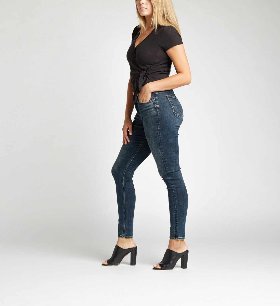 Elyse Mid Rise Skinny Jeans Side
