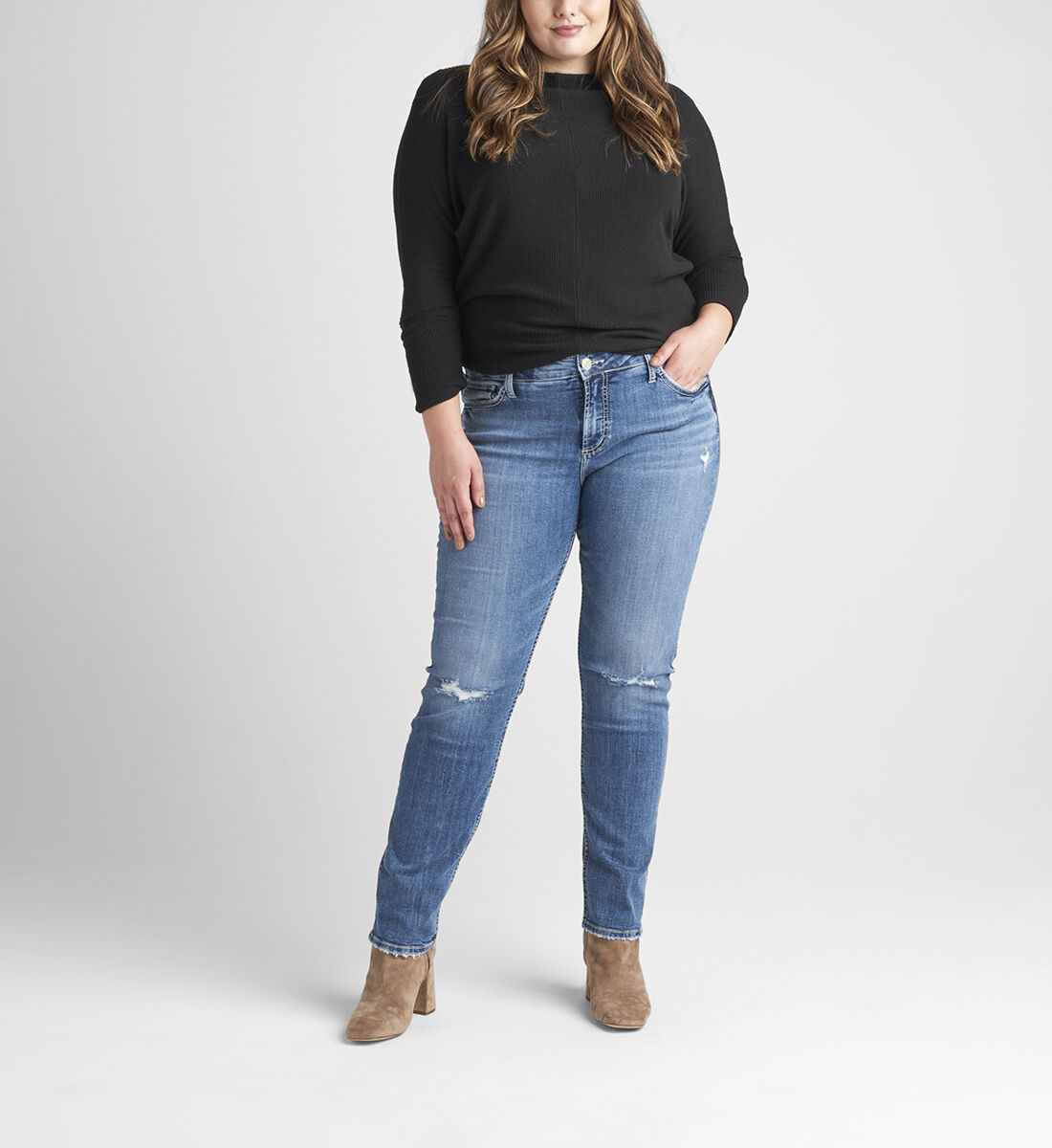 Elyse Mid Rise Straight Leg Jeans Plus Size Front