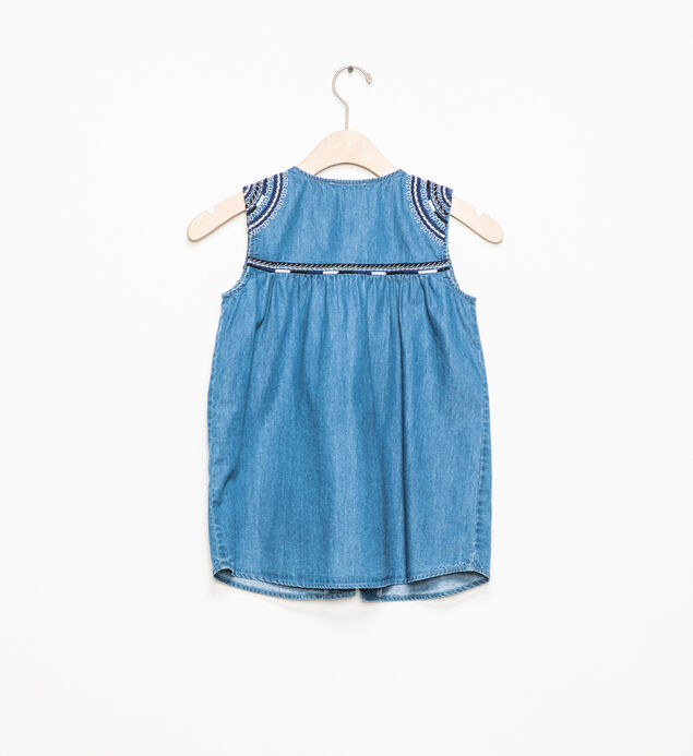 Sleeveless Embroidered Chambray Top (7-16), , hi-res