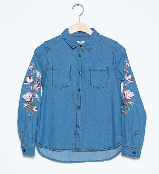 Long-Sleeve Embroidered Denim Shirt (4-7)
