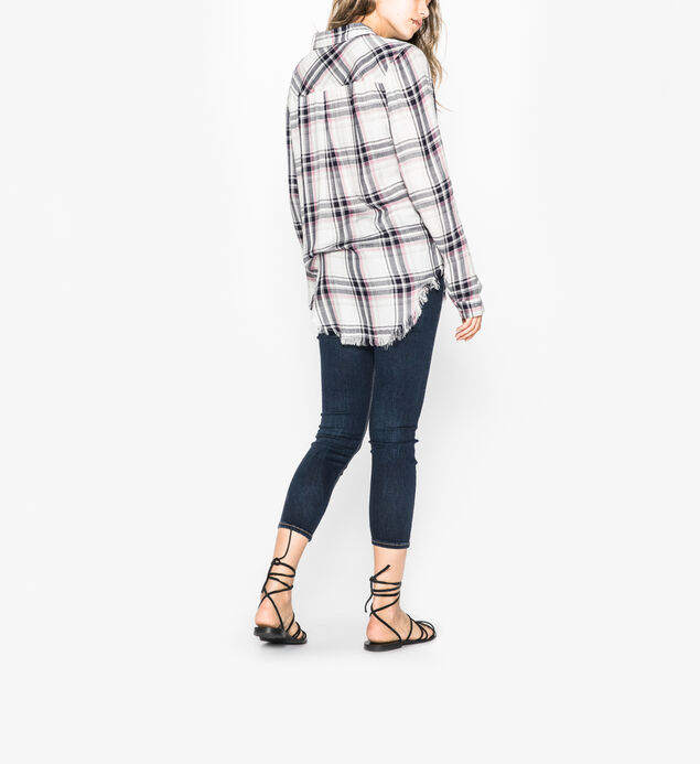 Stevie - Basic Plaid Shirt With Frayed Hem, , hi-res