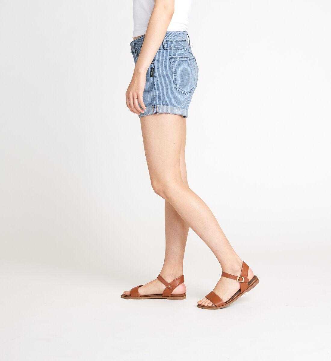 Boyfriend Mid Rise Pinstripe Shorts Side