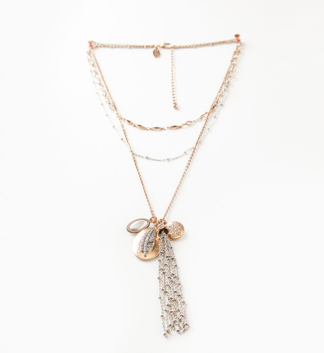 Mixed-Metal Layered Tassel Necklace