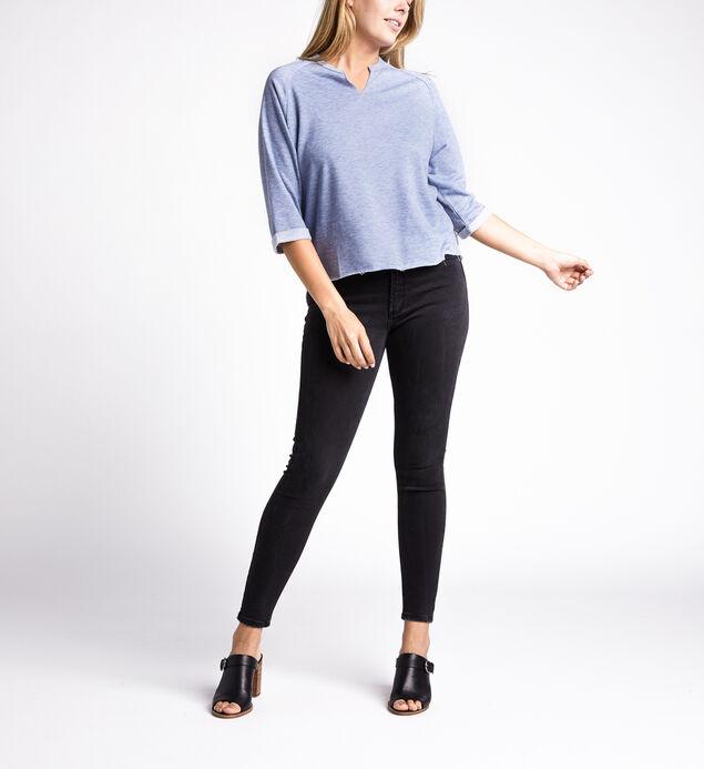 Amira Slit-Neck Three-Quarter Sweatshirt, Dusty Blue, hi-res