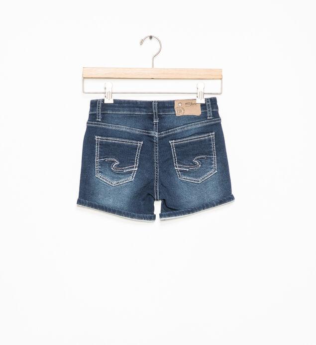 Lacy Dark-Wash Denim Shorts (7-16), , hi-res