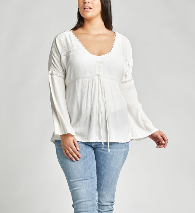 Sally Lace-Trim Peasant Blouse