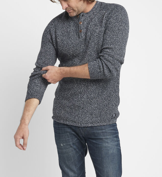 Bridger Marled-Knit Henley Sweater
