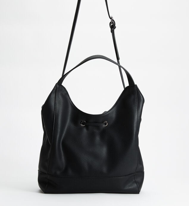 Mixed-Material Drawstring Hobo, , hi-res