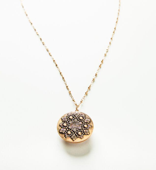 Pink and Gold-Tone Reversible Pendant Necklace, , hi-res