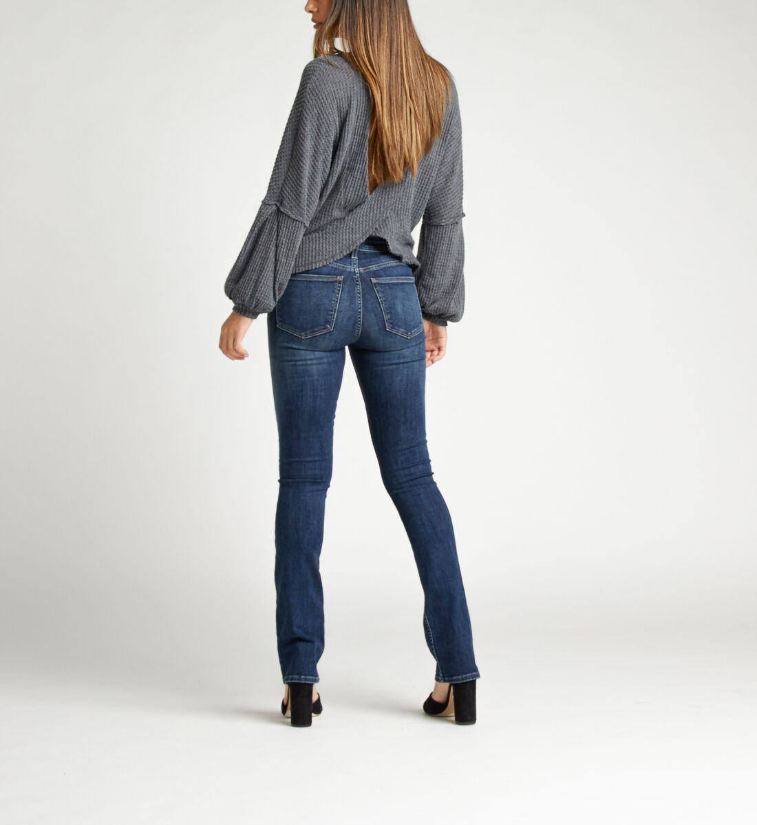 Most Wanted Mid Rise Skinny Bootcut Jeans Back