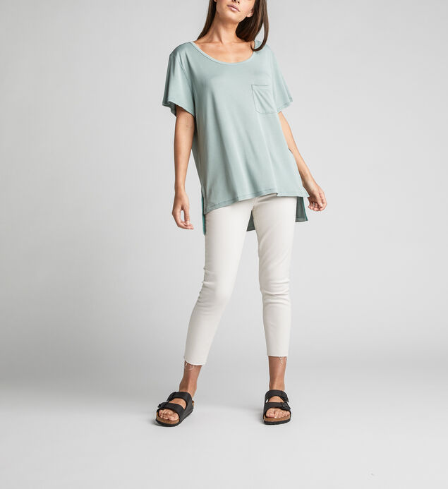 Alua Split-Seam High-Low Tee, Turquoise, hi-res