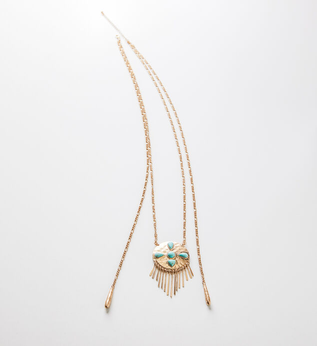 Gold-Tone Turquoise Fringe Pendant Necklace