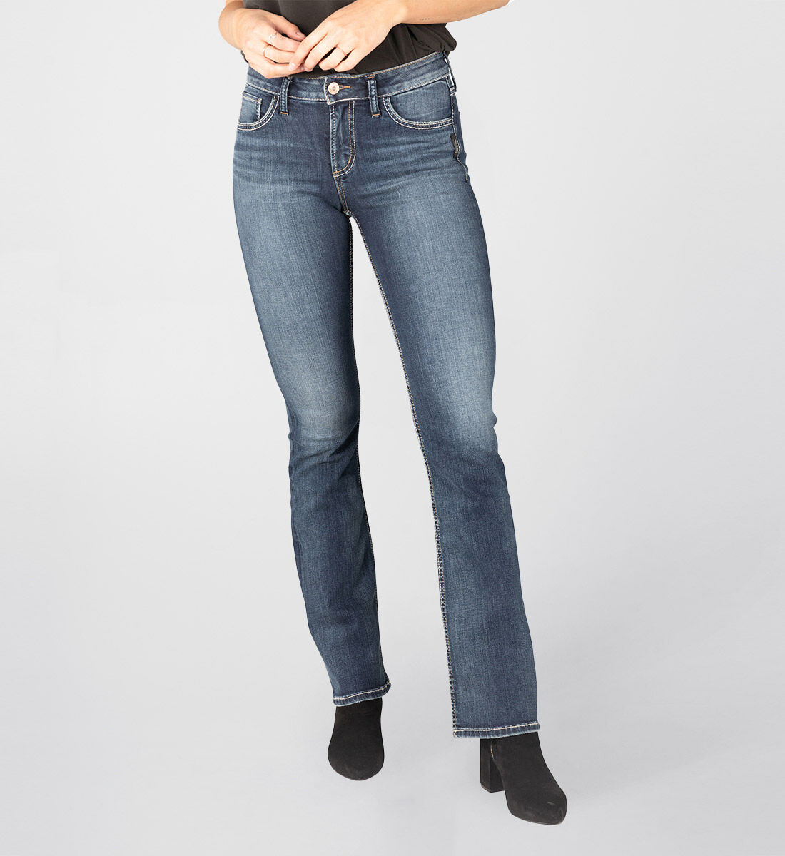 Avery High Rise Slim Bootcut Jeans Front