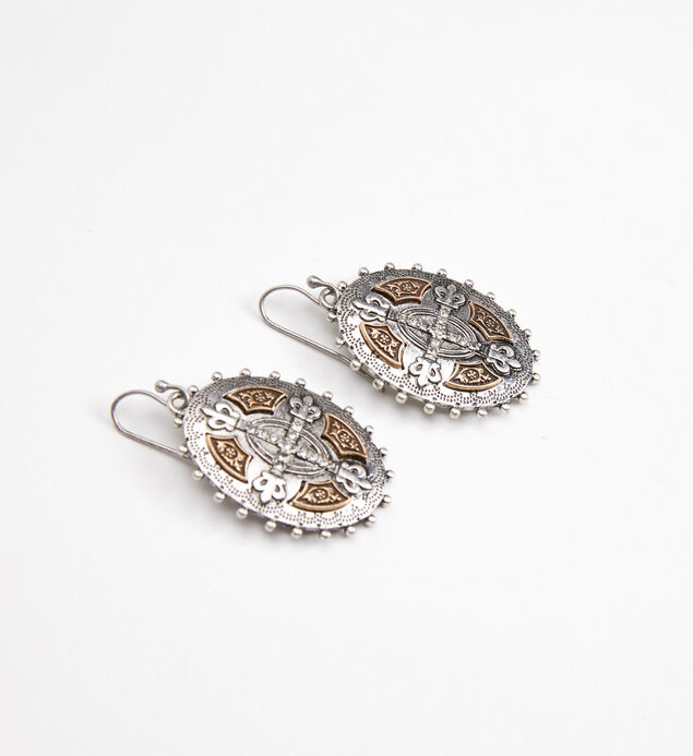 Silver-Tone Oval Drop Earrings, , hi-res