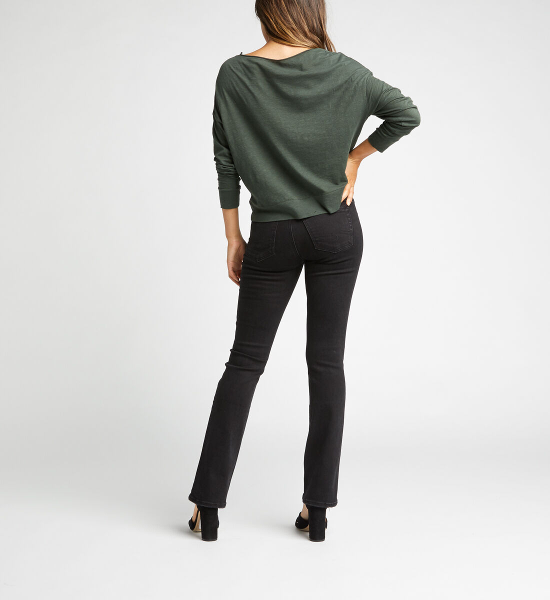 Suki Mid Rise Slim Bootcut Jeans,Black Back