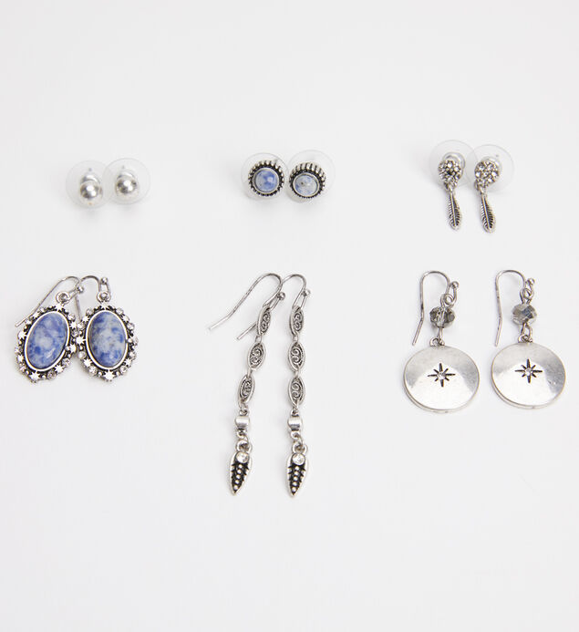 Silver-Tone and Blue Earring Set