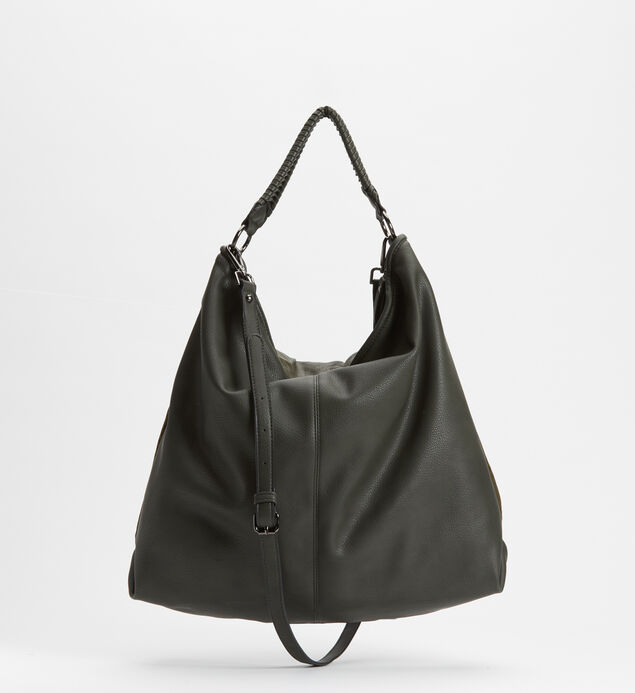 Mixed-Material Hobo Bag, Khaki, hi-res