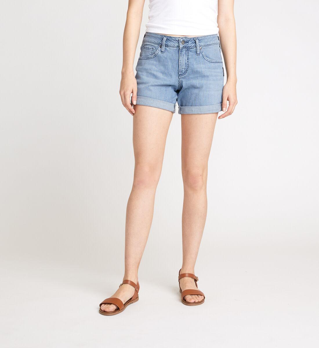 Boyfriend Mid Rise Pinstripe Shorts Front
