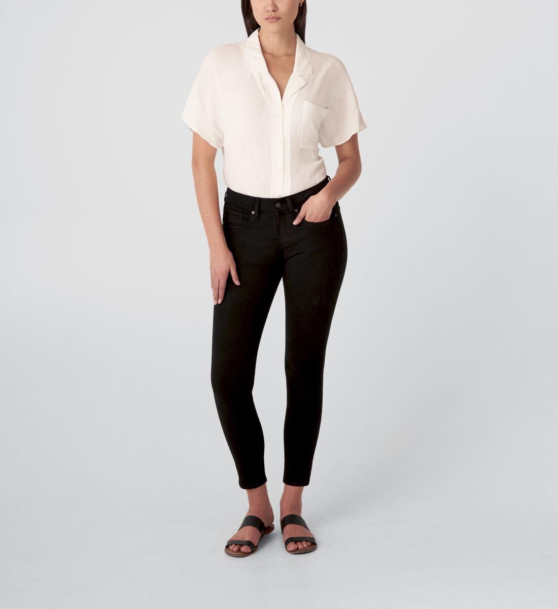 Suki Mid Rise Skinny Jeans,Black Front