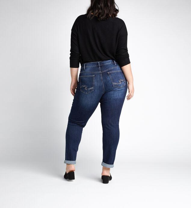 Boyfriend Mid Rise Slim Leg Jeans Plus Size, Indigo, hi-res