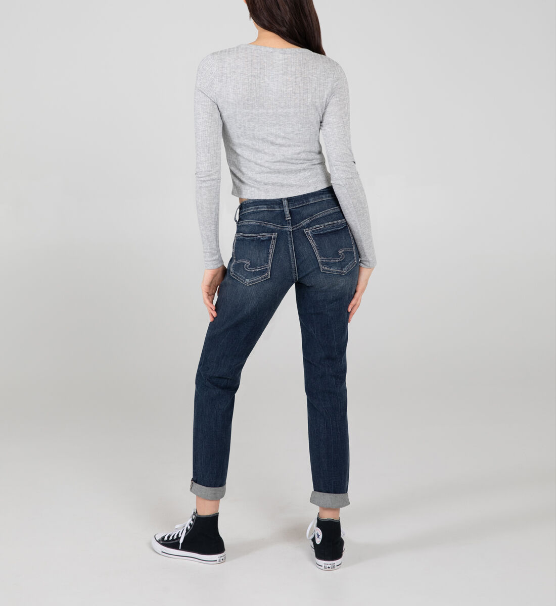 Boyfriend Mid Rise Slim Leg Jeans Back