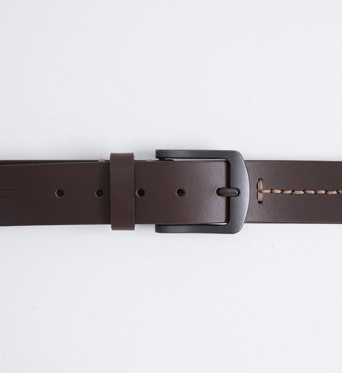 Contrast Stitch Leather Mens Belt Side