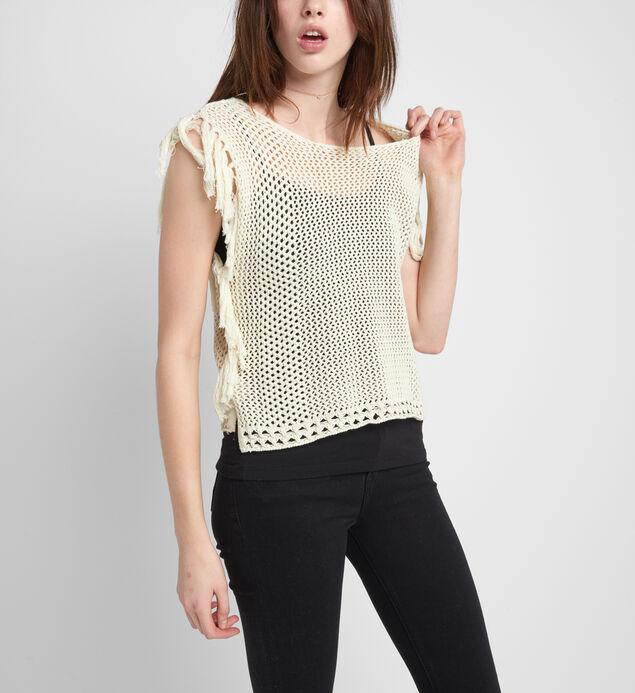 Open Weave Fringe Pullover