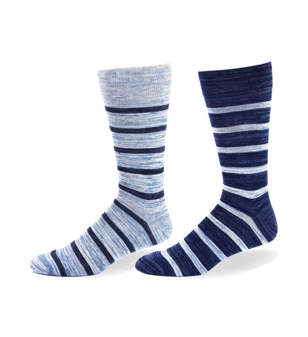 Blue Multi-Stripe Over-The-Calf Mens Socks