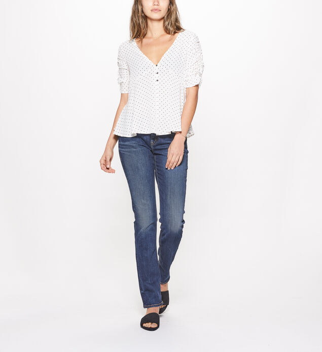 Elyse Straight Mid Rise Dark Wash