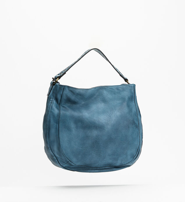 Textured Hobo Crossbody Bag, Blue, hi-res