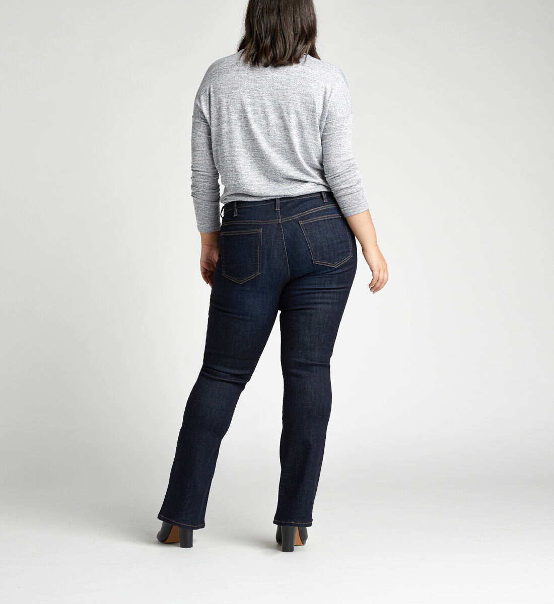 Elyse Mid Rise Slim Bootcut Plus Size Jeans Back