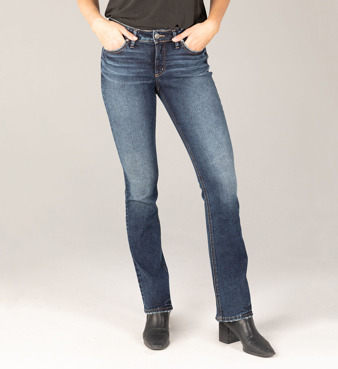 Elyse Mid Rise Slim Bootcut Jeans Front
